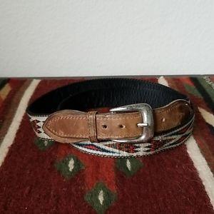 Vintage Leather Aztec Design Webbed Belt - Medium